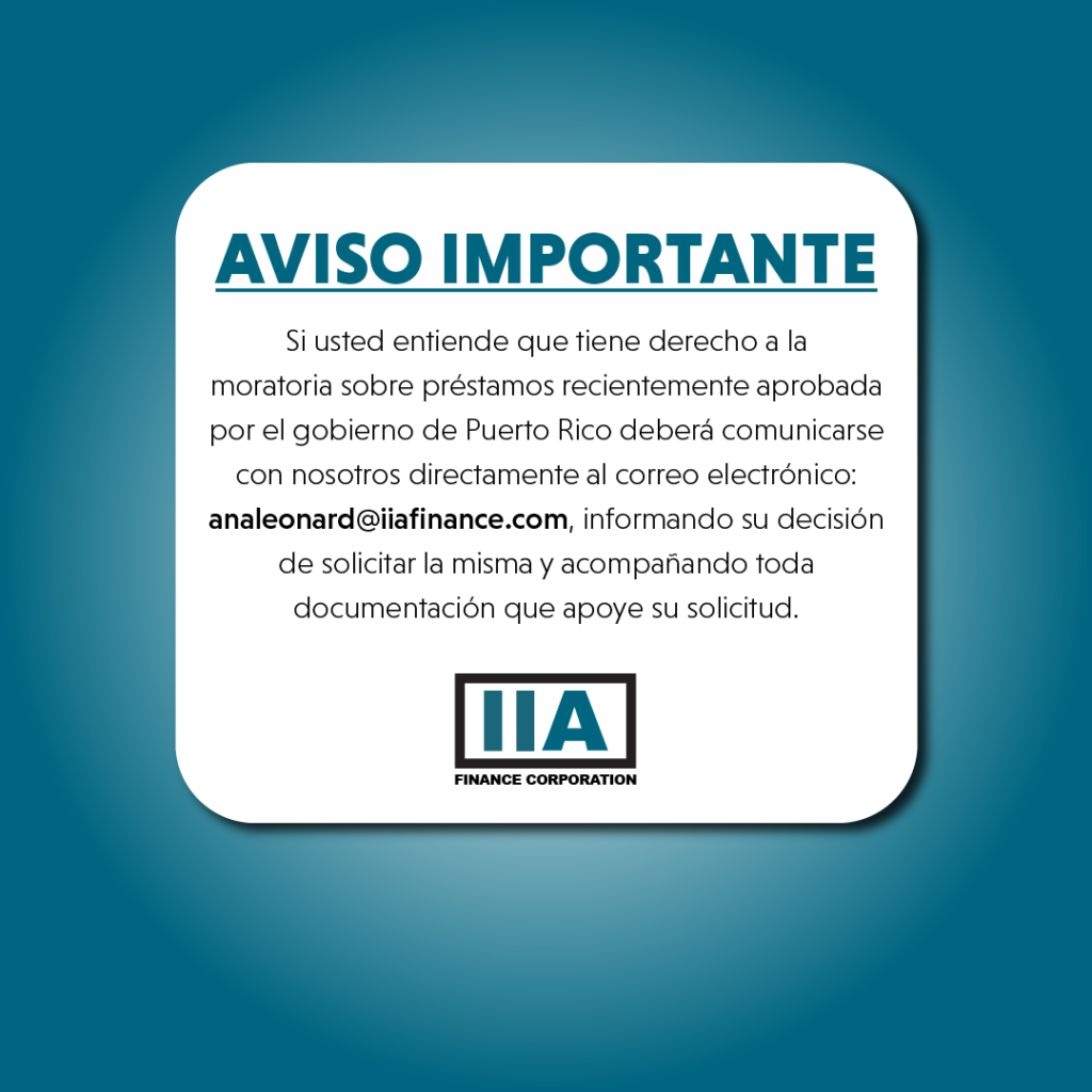 Aviso Importante Moratoria IIA Finance